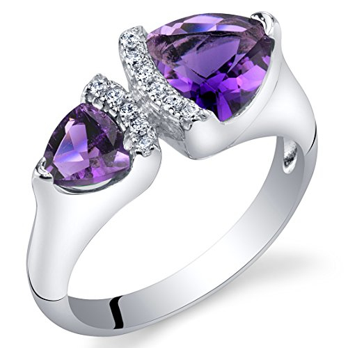 Forever Us Two Stone Amethyst Sterling Silver Trillion Cut Ring Size 8 (Amethyst Two Stone)