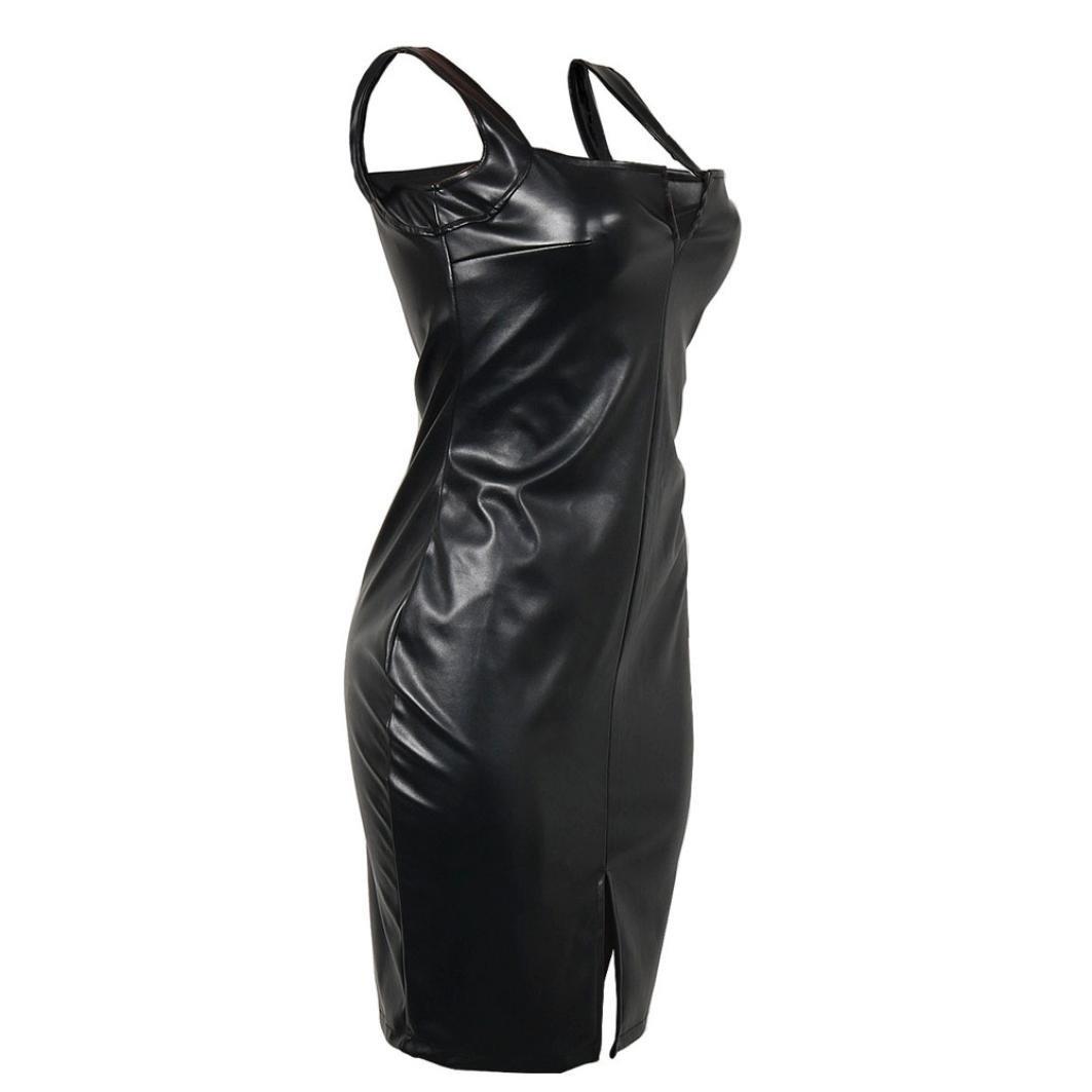 Vestido de Cuero para Mujer, LILICAT® Vestido de Fiesta para Bodas Cortos Bodycon de moda, Vestido de Tirantes Sexy Clubwear Slim Fit sin mangas: Amazon.es: ...