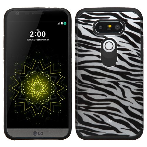 (LG G5 Case, Mybat Zebra Dual Layer [Shock Absorbing] Protection Hybrid Rubberized Hard PC/Silicone Case Cover for LG G5, Black/White)