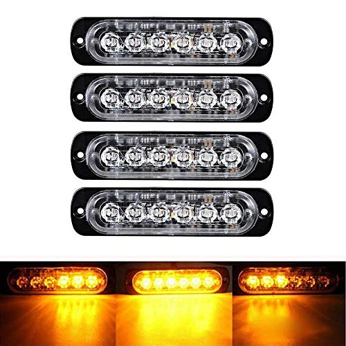- Ricoy 4X Amber 6 LED Car Truck LED Rock Emergency Beacon Warning Hazard Flash Strobe Underbody Light Bar