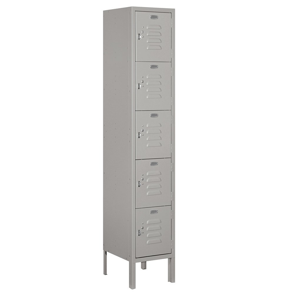 Salsbury Industries Assembled 5-Tier Box Style Standard Metal Locker with One Wide Storage Unit, 5-Feet High by 12-Inch Deep, Gray
