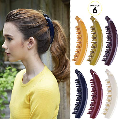 RC ROCHE ORNAMENT Womens Premium Hair Plastic Banana Classic Clincher Strong Hold Ponytail Maker Girls Ladies Beauty Accessory Clasp Clip, 6 Pack Count Large Classic Multicolor