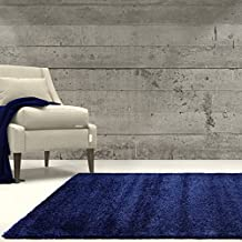 "Ladole Rugs Soft Plush Smooth Solid Plain Color Modern Durable Area Rug Carpet for Living Room Bedroom in Navy Blue, 5'3"" x 7'6""(160cm x 230cm)"