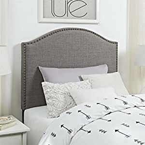Better Homes And Gardens Grayson Linen Headboard With Nailheads Twin Gray
