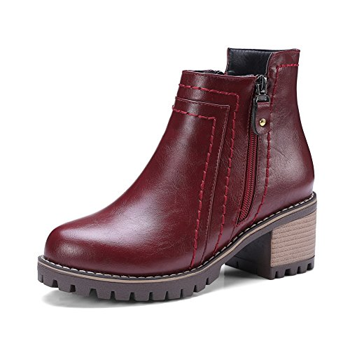 Toe Ankle Cuff Weather Waterproof Womens DKU01832 Closed Smooth Closed Zip Boots A Kitten Heels Urethane Claret Leather Rubber amp;N All Boots Toe gTPqSwaO4x
