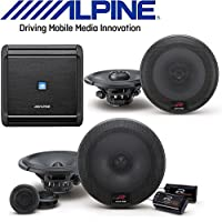 Alpine MRV-F300 4-Channel Car Amplifier, 50 Watts RMS x 4 W/ R-Series 6.5 Inch 300 Watt Coaxial 2-Way Car Audio Speakers, R-Series 6.5 Inch 300 Watt Component 2-Way Car Speakers