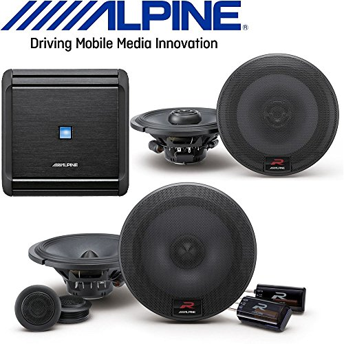 Alpine MRV-F300 4-Channel Car Amplifier, 50 Watts RMS x 4 W/R-Series 6.5 inch 300 Watt Coaxial 2-Way Car Audio Speakers, R-Series 6.5 inch 300 Watt Component 2-Way Car Speakers