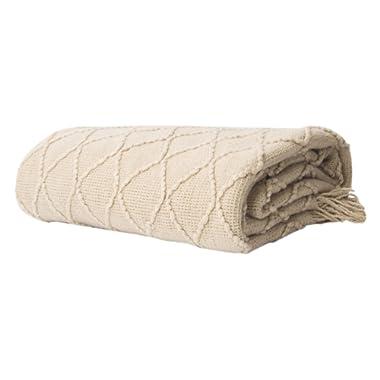 Battilo Knit Diamond Patterned Throw Blanket, 50  W by 60  L, Beige