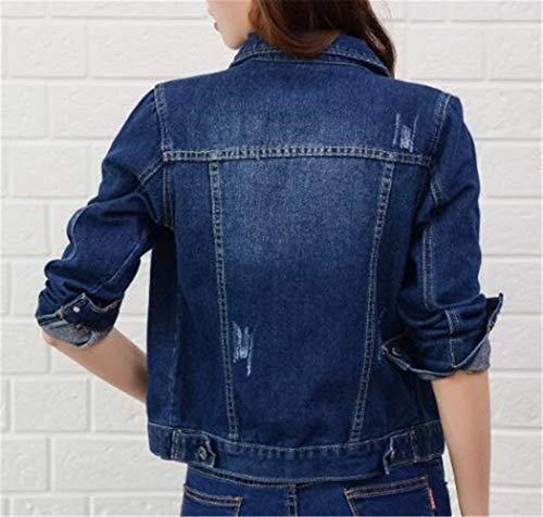 Jeans Manica Breasted Blu Casual Anteriori Corto Donne Giovane Giaccone Bavero Moda Scuro Giacca Giacche Cappotto Di Tasche Casuale Donna Elegante Lunga Battercake Autunno Single pOqUn