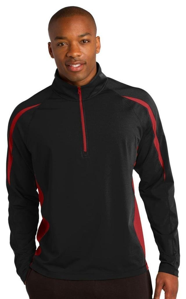Sport-Tek Men's Sport Wick Stretch 1/2 Zip Colorblock XS Black/True Red by Sport-Tek