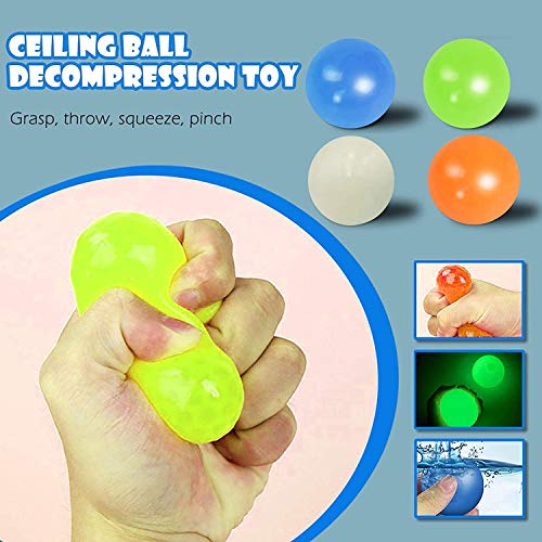HitHopKing Wall Balls Decompression Toys Balls, Ceiling Sticky Balls Decompress Stress Relief Balls Luminescent Squeeze Vent Ball Fluorescence Goo Ball Fun Toy for Kids and Adults (4PCS--S)