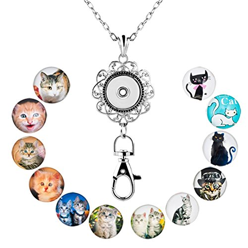 Jesse Ortega Lanyard Office ID Badge Holder Locket Necklace With 12pcs Snap Button Charm (Cat)