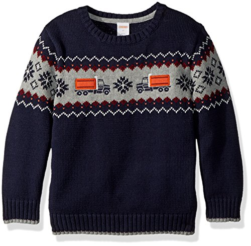 Gymboree Toddler Boys' Long Sleeve Crewneck Sweater Train, Navy Train Fair Isle, 2T - Fair Isle Crewneck Sweater