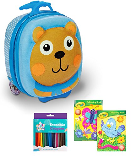 Toddler Travel Kit Including Oops 3D Moulded Trolley Suitcase/Backpack, 2 Crayola Colouring Books & Crayon Pack (with Eraser & Sharpener)