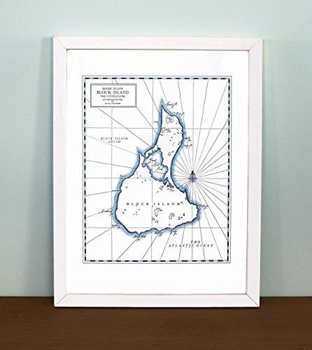 Block Island, Rhode Island Letterpress Map Print Rhode Island Block Island