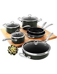 Chantal Copper Fusion Cookware Chef Set 10 Piece Pots Pans Home Kitchen- Black
