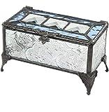J Devlin Box 514-2 Princess Blue Stained Glass Jewelry Keepsake Box Vintage Home Decor Trinket