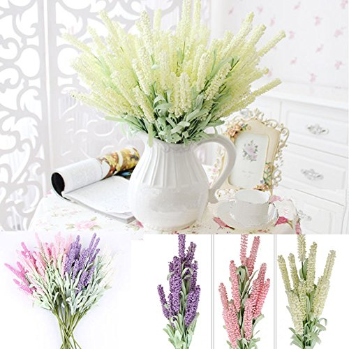 S&M TREADE 12-Heads Artificial Silk Lavender Fake Flower Wedding Bouquet Party Home Decor (White)