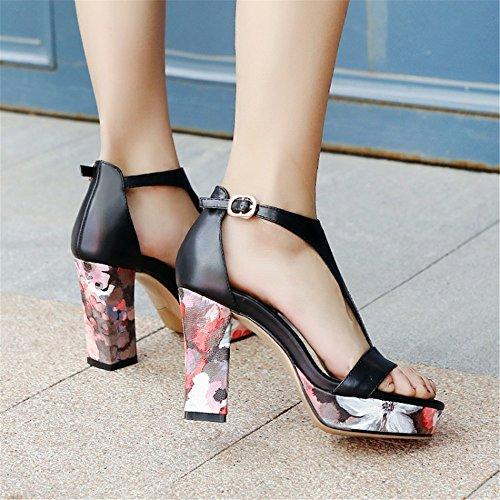 Sandali fiori piattaforma di alto fibbia femminili spessi tacco Nero con impermeabile AnchengKAO con a 1Hd1I