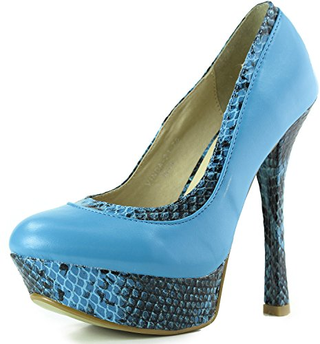 Womens Machi Vinda-21 Platform Snake Skin Fashion Scarpe Blu