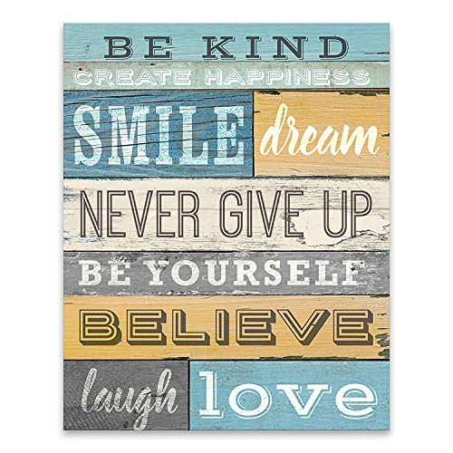 Office Any Decor - Artissimo Designs Inspirational Quote: Be Kind, Create Happiness, Smile, Dream and Never Give Up Wall Decor. Premium Gallery Wrapped Canvas. Ready to Hang on Any Wall Decor in Your Home or Office.