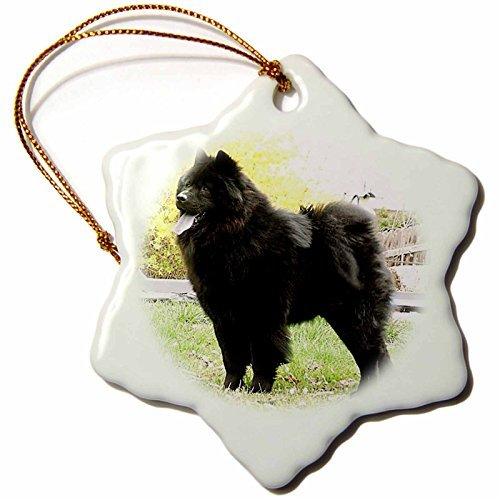 Dogs Chow Chow - Black Chow - 3 inch Snowflake Porcelain Ornament (844_1) ()
