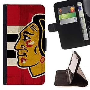 - Chicago Blackhawk Hockey - - Prima caja de la PU billetera de cuero con ranuras para tarjetas, efectivo desmontable correa para l Funny HouseFOR Sony Xperia Z1 L39