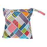 Baby Protable Nappy Reusable Washable Wet Dry Cloth Zipper Waterproof Diaper Bag with Colorful Checked Pattern
