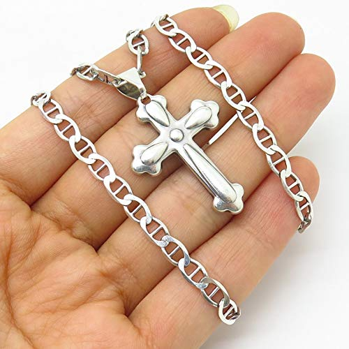 - Vintage Sterling Silver Religious Cross Pendant Anchor Chain Necklace 18''