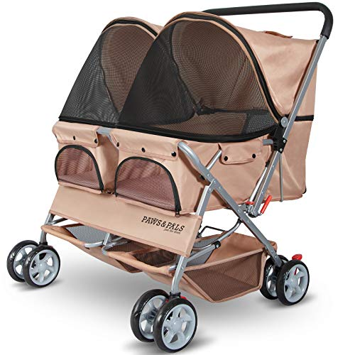 Paws & Pals Double Dog Stroller Easy Walk Folding Travel Carriage for Pets & Cats - Beige