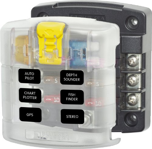 Blue Sea Systems ST Blade Fuse Block - 6 Circuits with Cover (Blue Power)