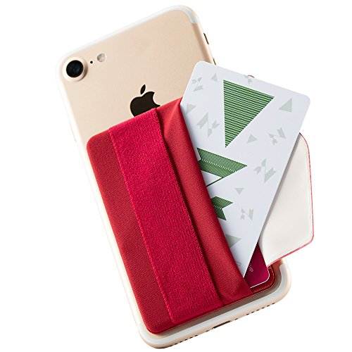 Sinjimoru Phone Grip Card Holder with Flap, Credit Card Stick-On Wallet Functioning as Phone Holder, Safety Finger Strap for iPhone and Android. Sinji Pouch B-Flap, Red. by Sinjimoru
