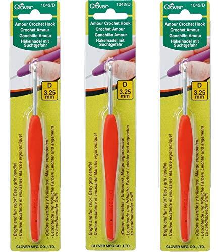 [해외]Clover 1042D Orange Amour Crochet Hook Size D 3.25mm (3 Pack) / Clover 1042D Orange Amour Crochet Hook, Size D, 3.25mm (3 Pack)