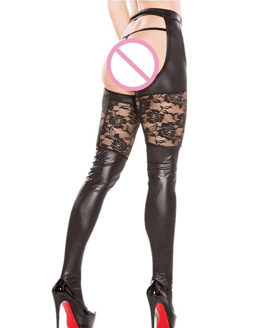 XGG Para Mujer de Cuero Atractivo de Alta Cintura Entrepierna Look Medias Negras Wet Look Entrepierna Leggings y Tanga, One Size d5c8fa