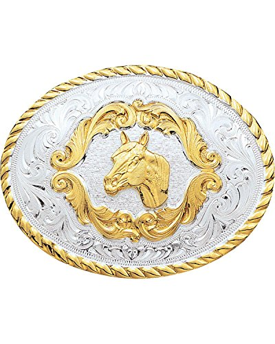 Montana Silversmiths Men's Small Horsehead Western Belt Buckle Silver One Size