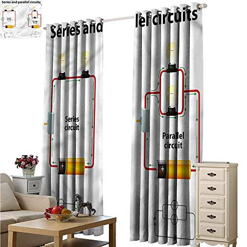 Fakgod Indoor/Outdoor Curtains Educational Parallel Circuts Great for Living Rooms & Bedrooms W84x84L