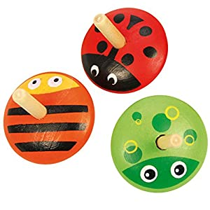 Bigjigs Toys Colourful Wooden Animal Spinning Top Toys Christmas Gifts Stocking Filler Toys for Children