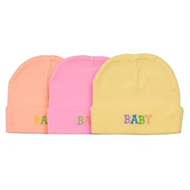 Little one New born baby Round caps pack of 3 0-3 Months-Multicolour ... 1483c7c95f5