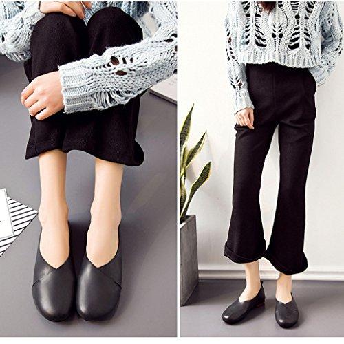 Mocasines de Cuero Casual Zapato Bailarinas de conducción Zapatillas Mujer Negro