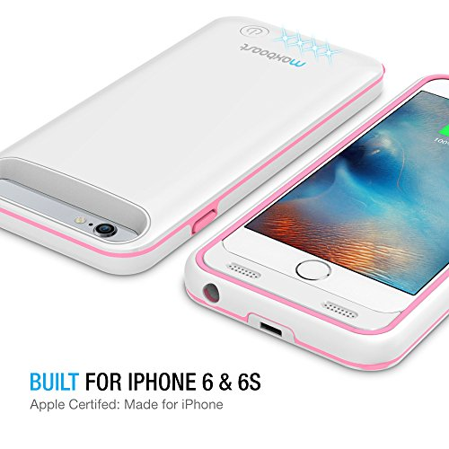 iPhone 6/iPhone 6S Battery Case, Maxboost [VIVID Power] Ultra Slim 3100mAh Battery for iPhone 6/6s (4.7 inch) [MFI Certified] Extended Charging iPhone Portable Charger Case - White/Pink by Maxboost (Image #6)