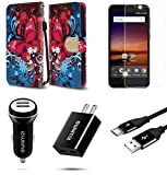 ZTE Blade Vantage | ZTE Avid 4 | ZTE Tempo X - Bundle: Synthetic Leather Wallet [Card Slots] Case - (Butterfly Symphony), Screen Protector, Car Charger, Wall Charger, Micro USB Cable, Atom Cloth
