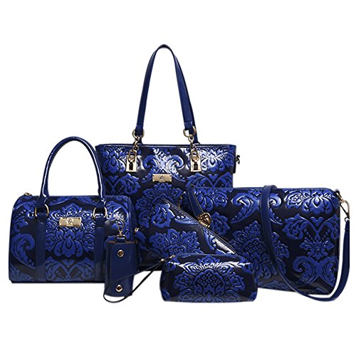 QZUnique Women 6PCS Empaistic Chinese Style PU Leather Crossbody Shoulder Bag Handbag Tote Purse Set
