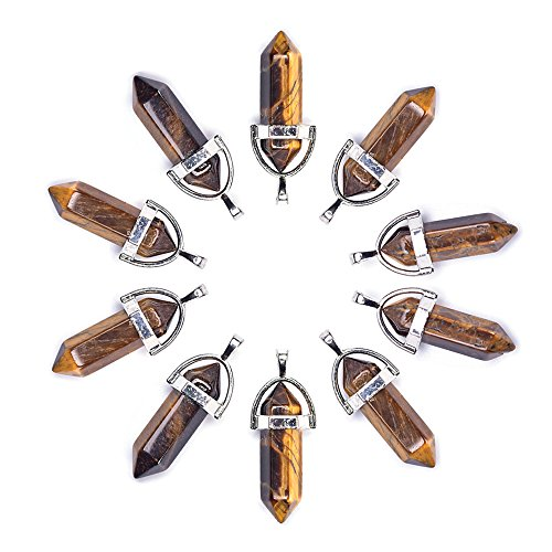 Pack-10pc Stone Crystal Pendants for Jewelry Making Tiger Eye Reiki Charm Stone - Shaped Pendant Bullet