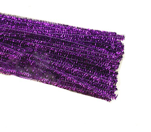 Purple Chenille Stems - Rimobul Glitter Creative Arts Chenille Stem Class Pack,6 mm x 12 Inch, Pack of 100 (Purple)