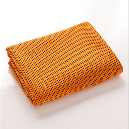 "MJ Fashion Cooling Towel for Instant Relief - 40""12"" - for Sports, Workout, Fitness, Gym, Yoga, Pilates, Travel, Camping & More (Orange)"