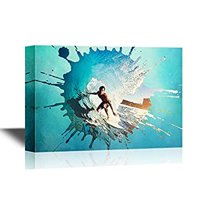 Extreme Sport Canvas Wall Art - Man Surfing with Huge Waves - Gallery Wrap Modern Home Art | Ready to Hang - 12x18 inches