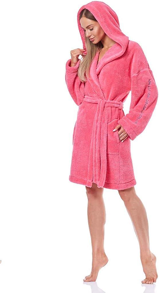 L&L - 9131 Albornoz Suave de Manga Larga para Mujer. Extremadamente Ligero. Vestido de Abrigo con Capucha para Damas.