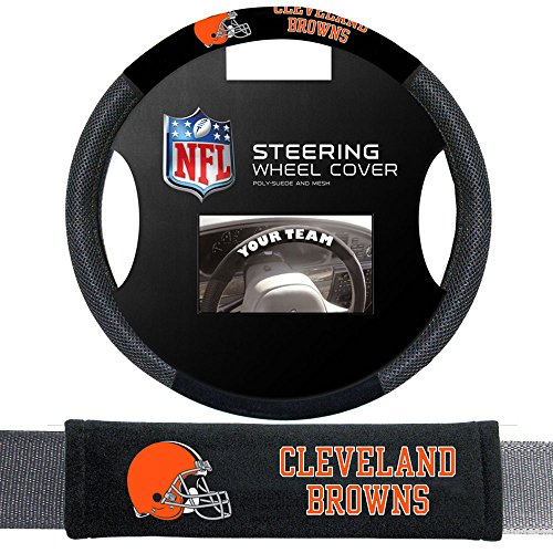 Cleveland Browns NFL Steering Wheel Cover and Seatbelt Pad Auto Deluxe Kit