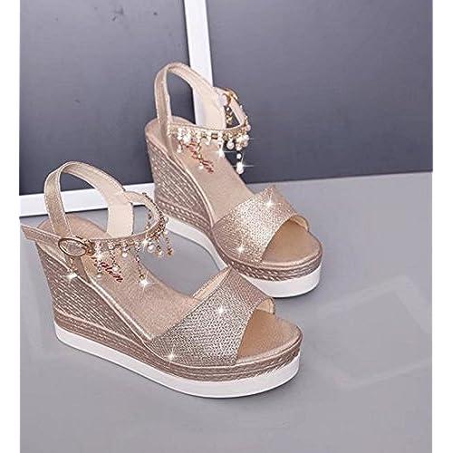 grand assortiment bons plans sur la mode magasins d'usine NBWE Femmes Sandales Compensées Paillettes Buckle Platform ...