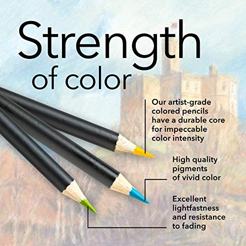 Castle Arts Themed 24 Colored Pencil Set in Tin Box, perfect colors for 'Landscapes'. Featuring, smooth colored cores, superior blending & layering performance achieving great results